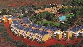 Iconic red-centre resort's solar reduces trucked-in fuel needs